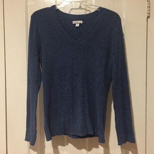 Croft & Barrow Blue V Neck Chenille Sweater